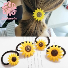 New Lovely Sunflower Hair Accessories Yellow Sunflower Elastic Hair Bands & Brooch Hair Clips For Women & Girl Accessories