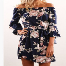 Stylish Sexy Women dress Summer Off-Shoulder Casual long sleeve Floral print Beach Chiffon Party Mini Dresses one pieces(China)