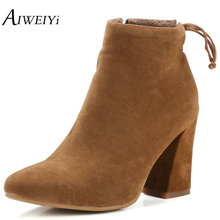AIWEIYi Women Faux Suede Ankle Boots Brand Design Platform Chunky High Heels Short Booties Woman 2017 Autumn Winter Shoes