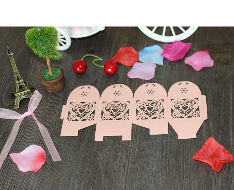 Hollow Heart Laser Cut Paper Gift Boxes [ 100 Piece Lot ] 6