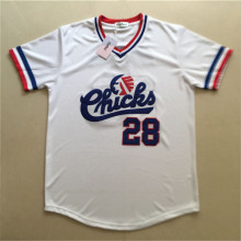 Gefex Baseball Jersey # 28 Jackson Chicks White Movie sets Jersey White throwback jerseys for free shipping