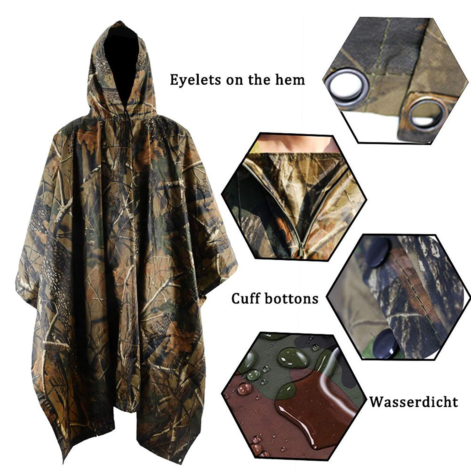 Military Natural Rubber Outdoor Super Wide Raincoat Poncho
