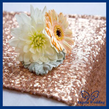 RU017E Custom made Wedding sequence rose gold sequin table runner(China)