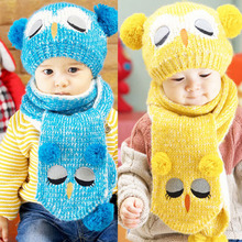 Baby Caps Children's Winter Hat Hats For Girls Boys Kids Hat Scarf Set Knitted Cartoon Owl Hats for Children 1 to 4 Years(China)