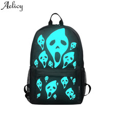 Aelicy New Noctilucent Backpack Ghost Printed Men Women's School Bags Night Lighting Backpack for Teenagers Girls Boys Rucksack(China)