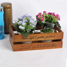 Vintage Wood Box Plant Tray Home Decoration Storage Box Natural Wooden Storage Cabinet Desktop Wooden Boxes Bins Crafts Gifts