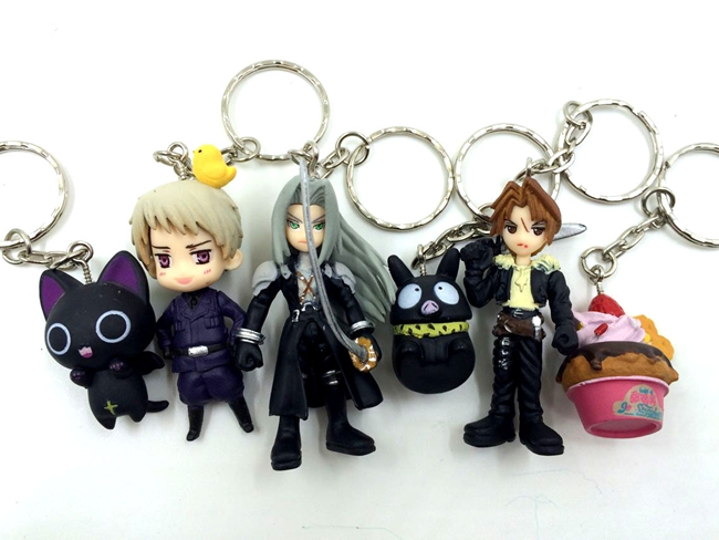 5pcs/lot 2.5-6.5cm various anime charactors final fantasy action figure set collectible model toys for boys keychain(China (Mainland))
