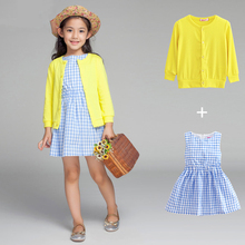 2pcs Summer Dress Kids Evening Dress Summer Style Party Dress Children's costume Baby Clothing Girl Lace Dress Easter Frocks(China)