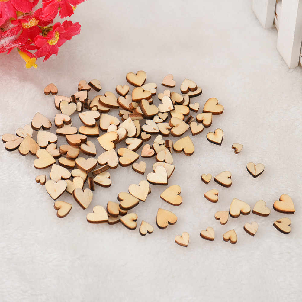 100pcs Rustic Wood Wooden Love Heart Wedding Table Scatter Decoration Crafts DIY Handmade diy imitation wood love jewelry