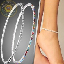 2016 3colors Silver Plated Fresh Bridal Full Clear Colorful Rhinestone Czech Crystal Circle Spring Anklets Body Jewelry