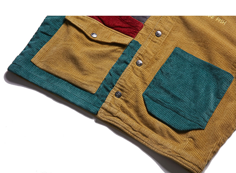 Aolamegs Jacket Men Corduroy Patchwork Men\`s Jacket Pockets High Street Fashion Casual Outwear Men Coat 2018 Autumn Streetwear (6)