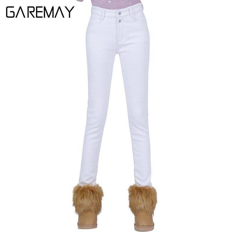 High Waist White Jeans Female 2016 Winter Velvet Pants Thick Warm Stretch Jean Slim Femme Skinny Winter Pencil Pants For WomenОдежда и ак�е��уары<br><br><br>Aliexpress