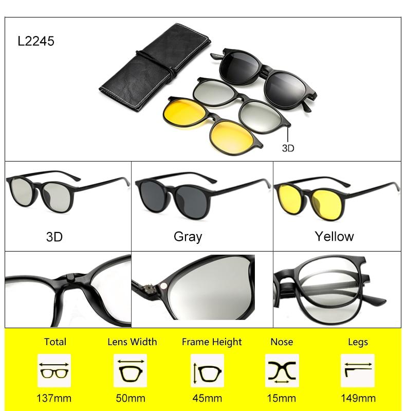 Ralferty 2018 Multi-Function Magnetic Polarized Clip On Sunglasses Men Women Ultra-Light TR90 3D Yellow Night Vision Glasses 7