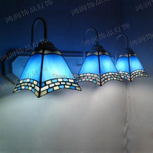 3 Lights Tiffany Wall Lamp Mediterranean Sea Style Mermaid Wall Sconces Mirror Bathroom Bedside Cabinet Fixtures E27 110-240V