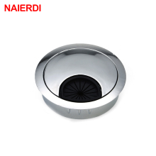 NAIERDI Zinc Alloy 60mm Base Computer Desk Grommet Table Cable Outlet Port Surface Wire Hole Cover Line Box Furniture Hardware