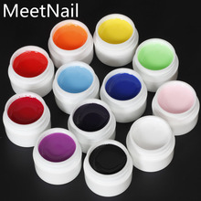 New Pure Color UV Gel Nail Art DIY Decoration For Nail Manicure Gel Nail Polish Extension Manicure Decor Kit 12 color(China)