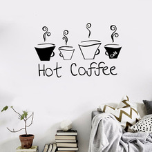 Hot Sale Coffee Cups Creative Wall Decals Removable Vinyl DIY Home Decor furnishings Art Kitchen cupboard cafe bar stickers
