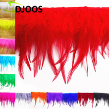 "10M*4-6"" Naturelles Plumas De Colores Faisan Colored Dyed Rooster Feathers For Sale Crafts Fringing Wedding Decoration Wholesale"