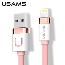 USAMS USB Cable For iPhone Charger Usb Cable 1M Zinc Alloy 2.1A Usb Charger Data Cable For iPhone 7 iPad Mobile Phone Cable