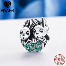 BISAER Authentic 100% 925 Sterling Silver Easter Egg Rabbit Bunny Beads fit Original PAN Bracelet Bangle Fine Jewelry Gift(China)