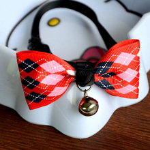 New Lovely Adjustable 6 Colors Plaid Leopard Print Bowknot Bell Cat Dog Necklace Puppy Pet Collar Pet Supplies(China)