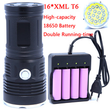 16T6 38000 lumens LED flash light 16*XM-L T6 LED Flashlight Torch Lamp Light For Hunting Camping Use Rechargeable 18650 Battery(China)