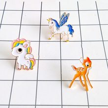 Miage Free Shipping Cartoon Cute Multicolor Deer Horse Charm Costume Brooches Pins Fashion Jewelry Wholesale For Women Gift