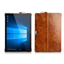 ICARER Case for Microsoft Surface Pro 4 W/ Pencil Holder Cover for Surface Pro 4 Oil Wax Vintage Genuine Leather Back Case Brown