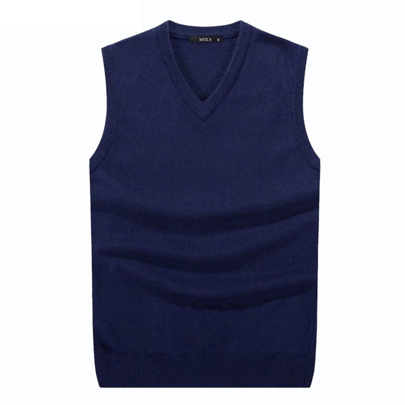 4Colors Men Sleeveless Sweater Vest Autumn Spring 100% Cotton Knitted Vest Sweater Basic Male Classic V neck Tops 2018 New M-3XL-03