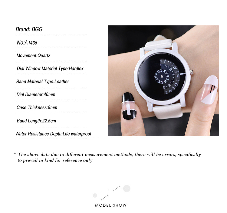 2017 BGG creative design wristwatch camera concept brief simple special digital discs hands fashion quartz watches for men women 14