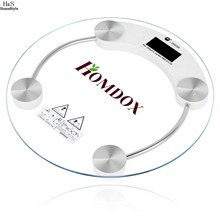 Homdox New Round Digital LCD Glass Body Weight Home Bathroom Scale High Precision 150kg/7kg N5030