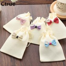 Ctrue 50pcs/Lot 10X14cm Burlap Gifts Bags Vintage Rustic Favor Wedding Candy Bag wedding souvenirs bags candy packaging supplies