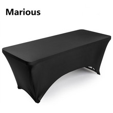 Big Discount 10pcs 6ft Black Rectangle Lycra Stretch Spandex Table Cloths Elastic advertised table cloth Free Shipping Marious(China)