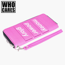 Money Power Glory 3D Printing Pink wallet men 2016 Who Cares New woman wallet carteira feminino wallets purse portefeuille homme(China)