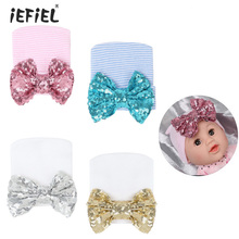 Newborn Baby Knitted Hospital Hat Cap with Cute Glitter Sequins Big Bow Unisex Baby Knitted breathable Hat Striped pattern print