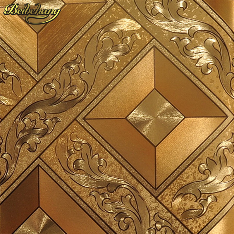 beibehang Classic Luxury wallpaper Roll Gold Foil Wallcovering Glitter Geometry PVC Wall paper For Public House KTV Wall Decor<br>