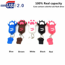 Real capacity new arrival cute Cartoon colorful usb flash drive 4gb 8gb16gb32gb paw pen drive flash memory stick u disk lanyard