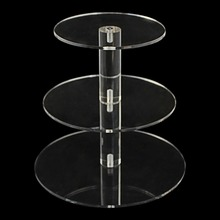 3 Tier Crystal Clear Circle Acrylic Round Cupcake Stand for Wedding Party Cake Display Decor Cake Tools Bakeware Kitchen Dining(China)