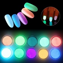 Meicaillin 12 color Fluorescent Powder DIY Bright Nail Art Glow In The Dark Sand Powder Glow Pigment Dust Luminous Nail Glitter