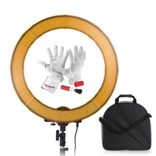 600PCS Beads Stepless Adjustable Light Ring LED Video Studio Light Portrait Photography 5500K for Canon Nikon DSLR+Diffuser Ring