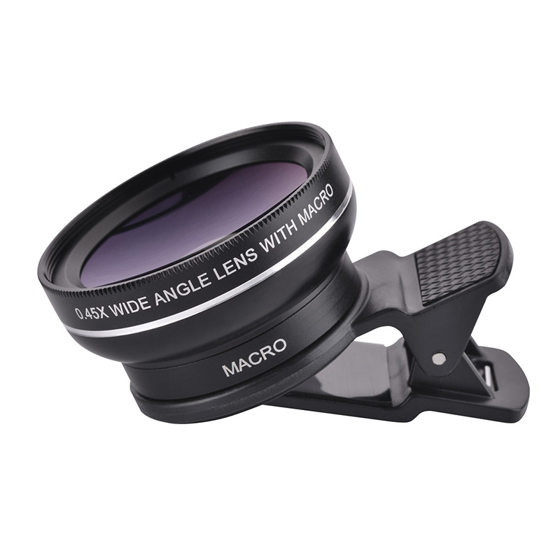 37mm 0.45X Super Wide Angle Lens 12.5X Macro Lens Clip For iPhone Xiaomi Samsung Cell Phone Lens 2 in 1 Camera Lens Kit 9