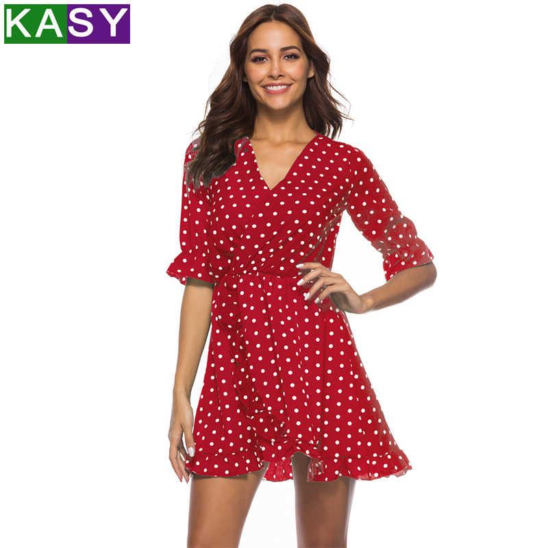602c4dbc795 Green Blue Red Polka Dot Summer Dress Sexy V neck Wrap Dress Slim Waist  Elegant Boho