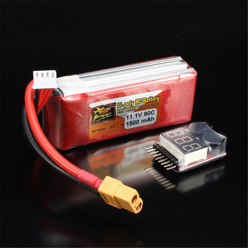 Hot Sale Rechargeable Lipo Battery ZOP Power 11.1V 1500mAh 3S 90C Lipo Battery XT60 Plug With One Remote Battery Monitor<br>