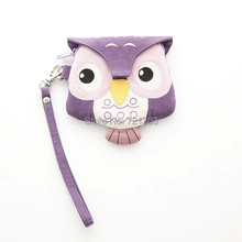 women fashion lovely coin purse canvas cotton wallet lady animal owl mini female wallet bag(China)