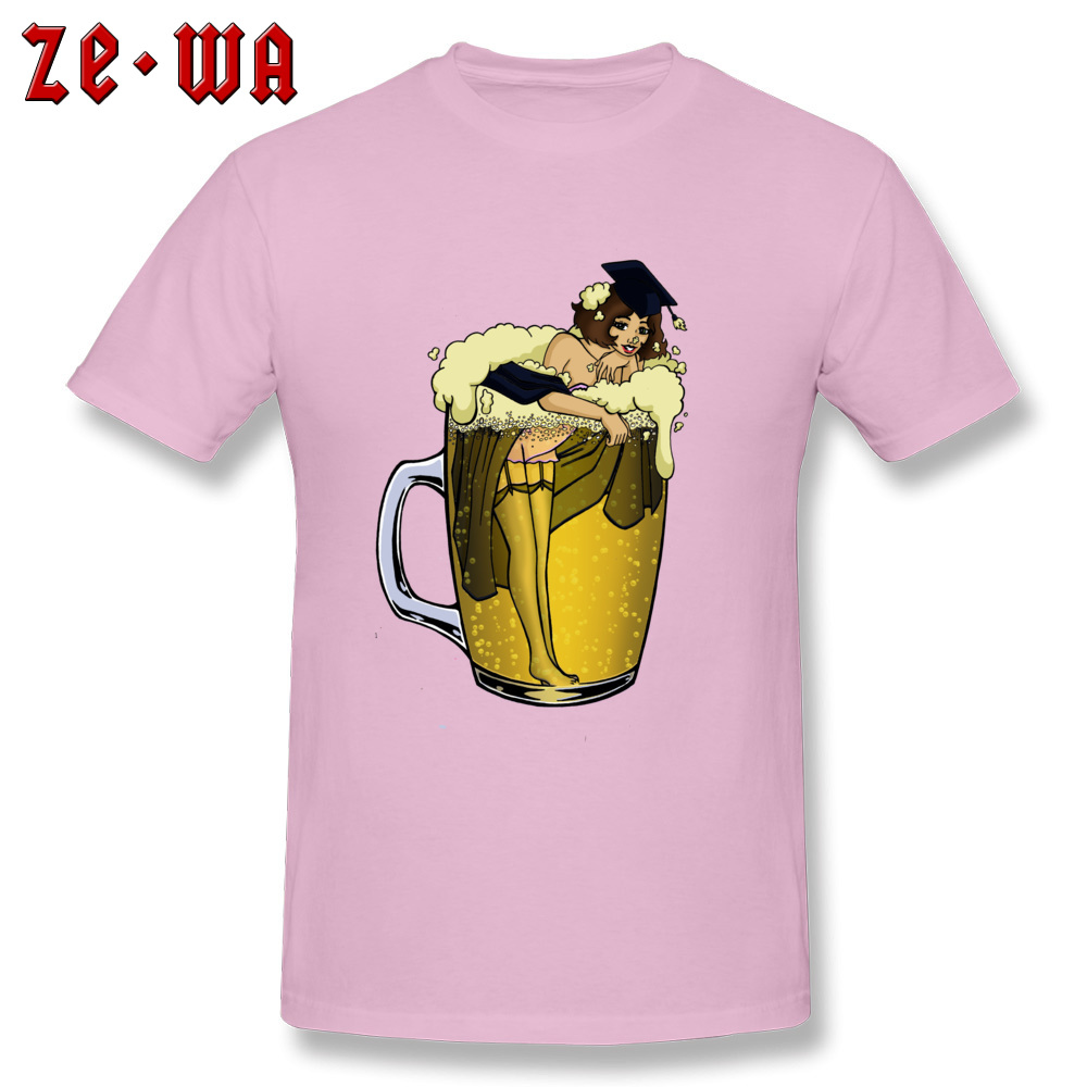 Man Top T-shirts pin up girl in beer Funny Tops Tees Pure Cotton Round Neck Short Sleeve Design T Shirt Summer/Autumn pin up girl in beer pink