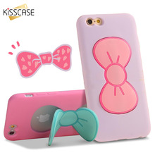 KISSCASE 3D Butterfly Bow Case For iPhone 6 6s Plus Cute Cartoon Soft Silicone TPU Phone Holder For iPhone 5 5s 6 6s 7 8 Plus(China)
