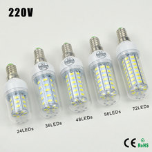 Bombillas E14 220V 5730SMD Practical LED Corn Bulb Lamp  24 36 48 56 72LEDs Chandelier Spotlight Lantern Replace Halogen Light