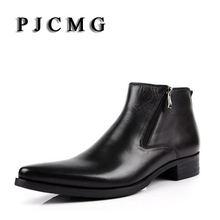PJCMG 새 소 boots 정품 Soft Leather Boots 첨 발가락 숨 수송아지 Patterns Oxford Dress 화 대 한 Men Boots(China)