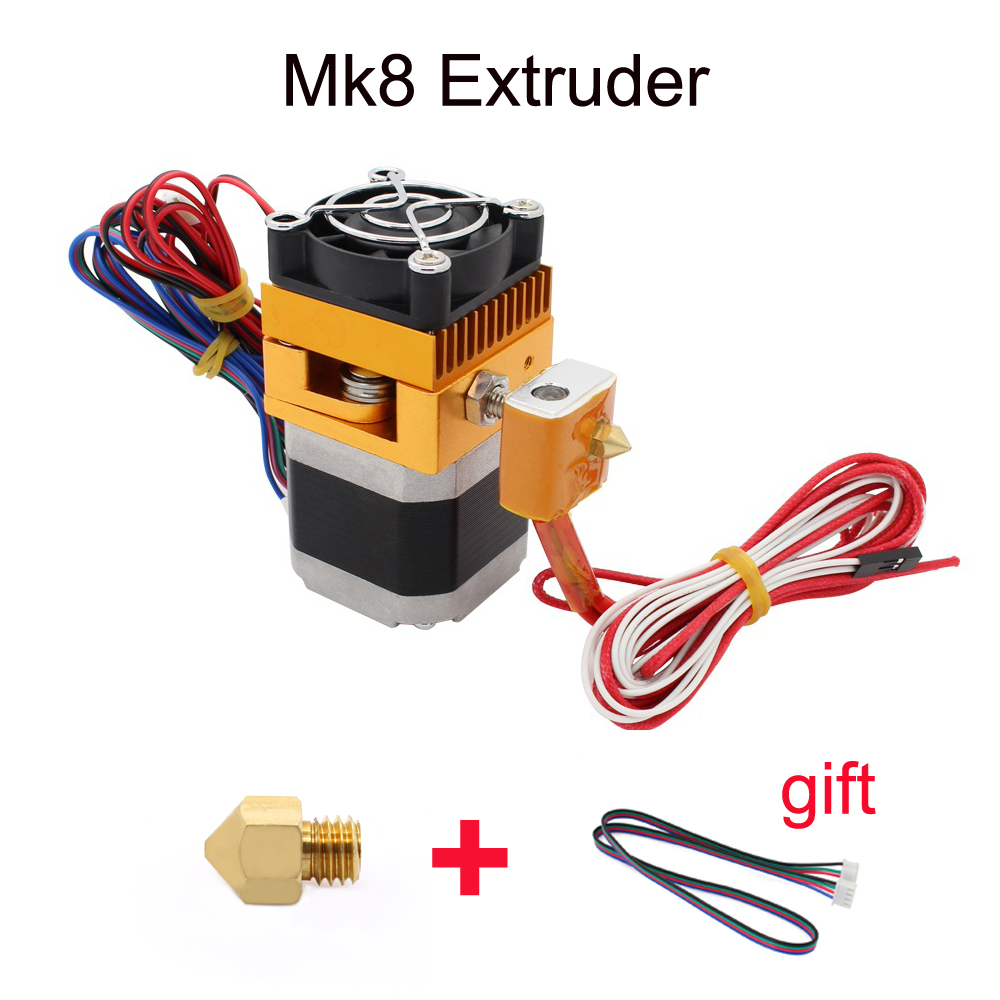 3D Printer Head MK8 Extruder J-head Hotend  Nozzle 0.4mm Feed Inlet Diameter 1.75 Filament Extra Nozzle +1 meter motor cable<br><br>Aliexpress