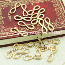 Sweet Bell  50pcs 8*24mm  KC gold Plating Metal Alloy Infinity Symbol Connectors Jewelry Findings Jewelry Parts D0024